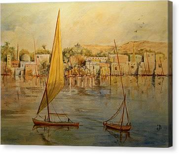 Feluccas At Aswan Egypt. Canvas Print by Juan  Bosco