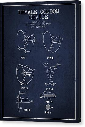 Female Condom Device Patent From 1989 - Navy Blue Canvas Print by Aged Pixel