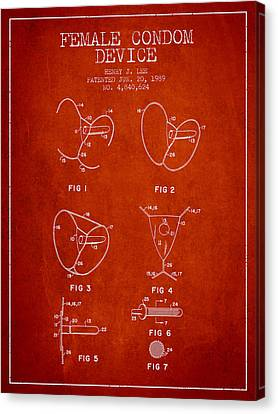 Female Condom Device Patent From 1989 - Red Canvas Print by Aged Pixel