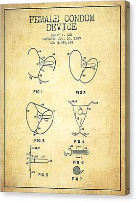 Female Condom Device Patent From 1989 - Vintage Canvas Print by Aged Pixel