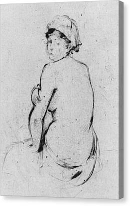 Female Nude Seen From Behind Canvas Print by Berthe Morisot