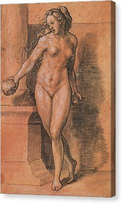Female Nude Stone Thrower Canvas Print by