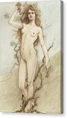 Female Nude With Grapes Canvas Print by Armand Rassenfosse
