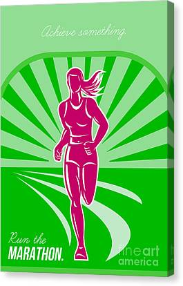 Female Run Marathon Retro Poster Canvas Print by Aloysius Patrimonio