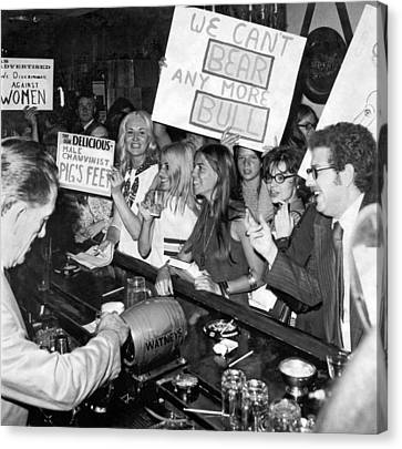 Feminists Protest  Brown's Bar Canvas Print by Underwood Archives