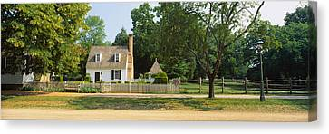 Fence In Front Of A House, Colonial Canvas Print by Panoramic Images