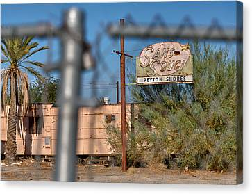 Fenced In  Abandoned 1950's Motel Trailer Canvas Print by Scott Campbell