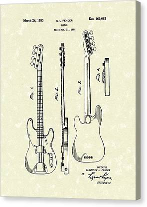 Fender Bass Guitar 1953 Patent Art  Canvas Print by Prior Art Design