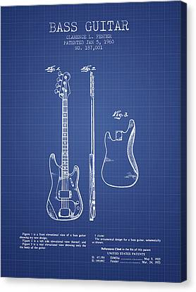 Fender Bass Guitar Patent From 1960 - Blueprint Canvas Print by Aged Pixel