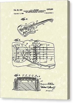 Fender Floating Tremolo 1961 Patent Art Canvas Print by Prior Art Design