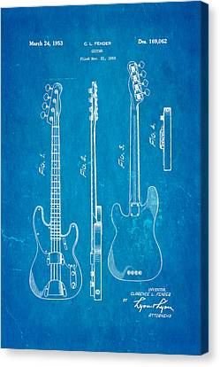Fender Precision Bass Guitar Patent Art 1953 Blueprint Canvas Print by Ian Monk