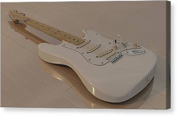 Fender Stratocaster In White Canvas Print by James Barnes