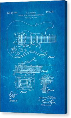 Fender Stratocaster Tremolo Arm Patent Art 1956 Blueprint Canvas Print by Ian Monk