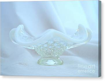 Fenton Blue And White Hobnail Bowl No 5 Canvas Print by Mary Deal