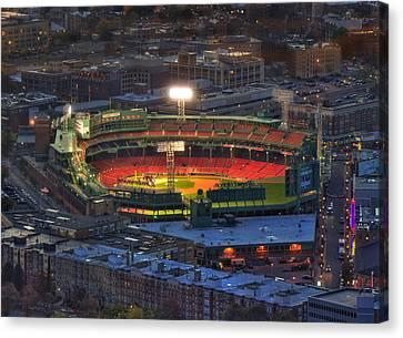 Fenway Park At Night - Boston Canvas Print by Joann Vitali
