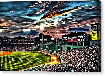 Fenway Park At Sunset Canvas Print by Florian Rodarte