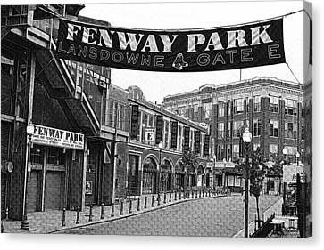 Fenway Park Banner Black And White Canvas Print by Toby McGuire