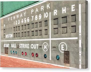 Fenway Park Scoreboard Canvas Print by Susan Candelario