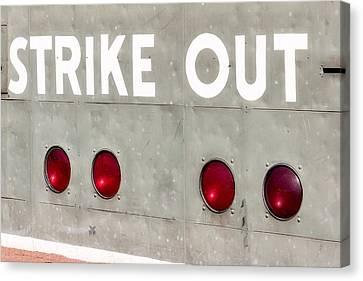 Fenway Park Strike - Out Scoreboard  Canvas Print by Susan Candelario
