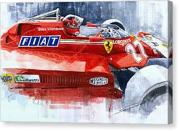 Ferrari 126c Silverstone 1981 British Gp Gilles Villeneuve Canvas Print by Yuriy Shevchuk