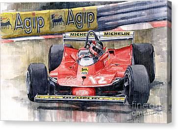 Ferrari  312t4 Gilles Villeneuve Monaco Gp 1979 Canvas Print by Yuriy Shevchuk