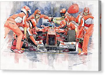 Ferrari F 2012 Fernando Alonso Pit Stop Canvas Print by Yuriy  Shevchuk