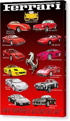 Ferrari Poster Art Canvas Print by Jack Pumphrey