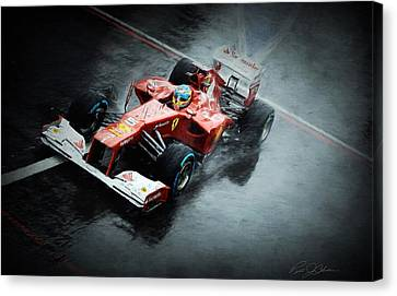 Ferrari Rain Dance Canvas Print by Peter Chilelli