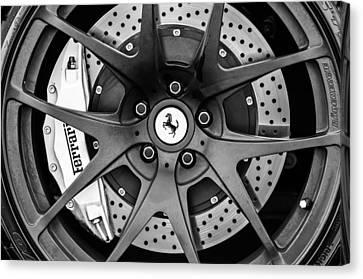 Ferrari Wheel Emblem - Brake Emblem -0430bw Canvas Print by Jill Reger