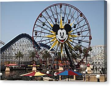 Ferris Wheel And Roller Coaster - Paradise Pier - Disney California Adventure - Anaheim California - Canvas Print by Wingsdomain Art and Photography