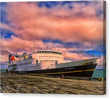 Ferry Dockside At Cold Bay Canvas Print by Michael Pickett