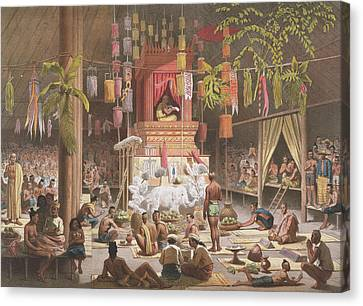 Festival In A Pagoda At Ngong Kair Canvas Print by Louis Delaporte