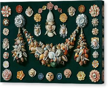 Festoon Masks And Rosettes Made Of Shells Canvas Print by Jan van Kessel the Elder