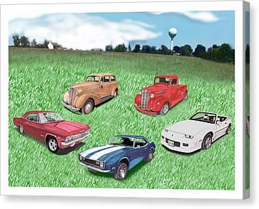 Field Of Chevys Canvas Print by Jack Pumphrey
