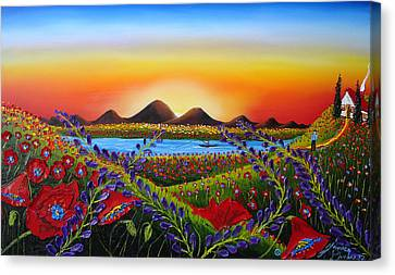 Field Of Red Poppies At Dusk 3 Canvas Print by Portland Art Creations