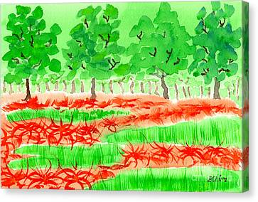 Field Of Red Spider Lilies Canvas Print by Beverly Claire Kaiya