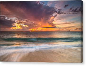 Fiery Skies Azure Waters Rendezvous Canvas Print by Photography  By Sai
