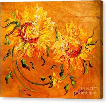 Fiery Sunflowers On Wood Canvas Print by Eloise Schneider
