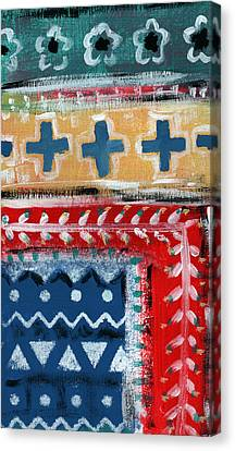 Fiesta 3- Colorful Pattern Painting Canvas Print by Linda Woods