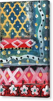Fiesta 4- Colorful Pattern Painting Canvas Print by Linda Woods
