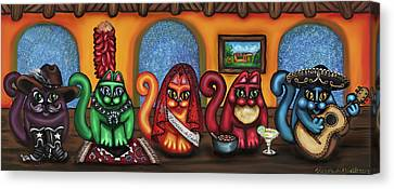 Fiesta Cats Or Gatos De Santa Fe Canvas Print by Victoria De Almeida