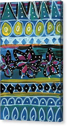 Fiesta In Blues- Abstract Pattern Painting Canvas Print by Linda Woods