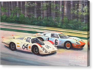 Fight For The Lead Canvas Print by Robert Hooper