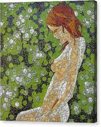Figure In Front Of Green Spots Canvas Print by Rachel Van der pol