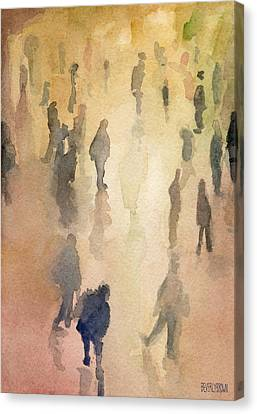 Figures Grand Central Station Watercolor Painting Of Nyc Canvas Print by Beverly Brown