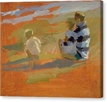 Figures On The Beach  Canvas Print by Sarah Butterfield