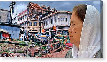 Filipina Woman And Her Earthquake Damage City Version IIi Canvas Print by Jim Fitzpatrick