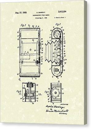 Film Camera 1935 Patent Art Canvas Print by Prior Art Design