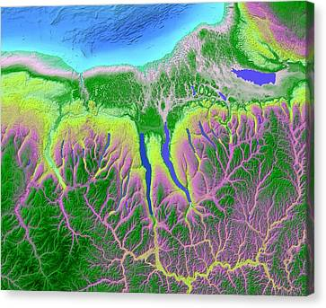 Finger Lakes Map Art Canvas Print by Paul Hein