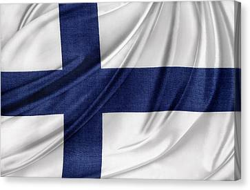 Finnish Flag Canvas Print by Les Cunliffe